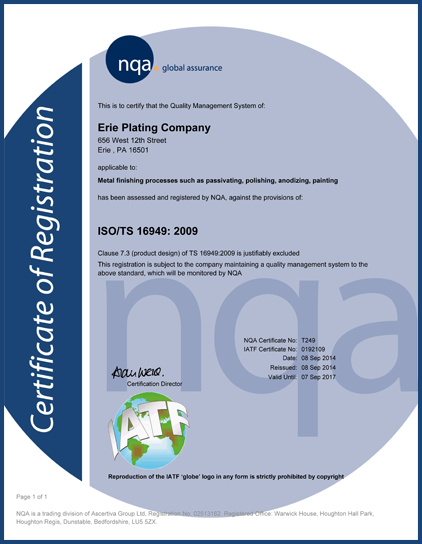 ISO 16949 certificate